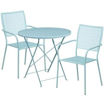 30'' Round Sky Blue Indoor-Outdoor Steel Folding Patio Table Set with 2 Square Back Chairs