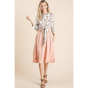 Ivory and Blush Leopard Print Midi Dress (S-XL)
