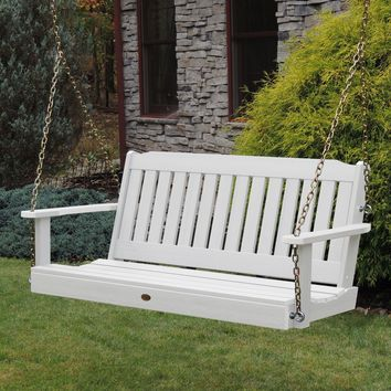 Highwood USA 5ft Lehigh Porch Swing  Eco-Friendly Synthetic  Wood