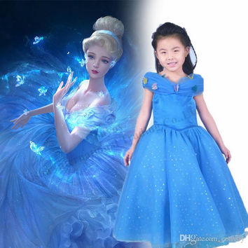 2015 newest Girls CUSTOM Cinderella gorgeous princess blue party dress prom dress baby girlssummer Cinderella costume cosplay dress GD37