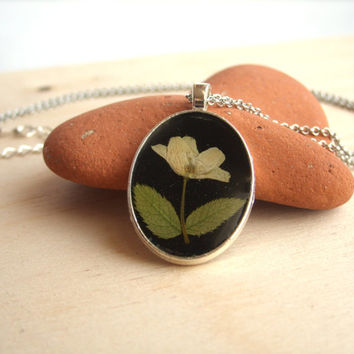 Real flower necklace - Wood anemone flower - Pressed flower jewelry - Botanical jewelry - Nature inspired pendant - Dried white flower