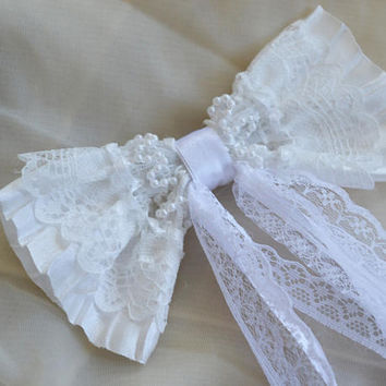 White bridal vintage looking oversize bow hair clip - lolita harajuku romantic steampunk victorian princess fashion kawaii costume prop