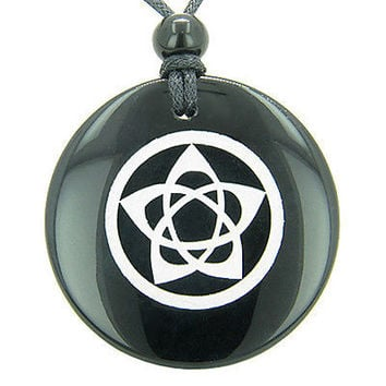 Flower of Life Wiccan Pentacle Star Amulet Black Onyx Magic Gemstone Circle Spir