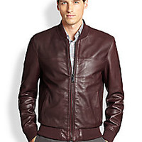 Saks Fifth Avenue Collection - Leather Bomber Jacket - Saks Fifth Avenue Mobile