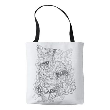 Colorable Cat Abstract Art Adult Coloring Tote Bag