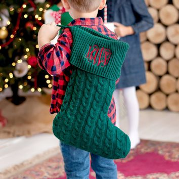 Green Embroidered Cable Knit Christmas Stockings