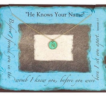 He Knows Your Name Turquoise & Gold Necklace