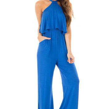 Cobalt Blue Halter Jumpsuit with Overlay Detail