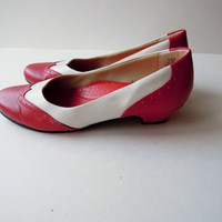 Saddle Shoes - 7.5 - Red and white heels