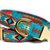 Aztec dog collar - Tribal Collar - Brass Tribal in Teal