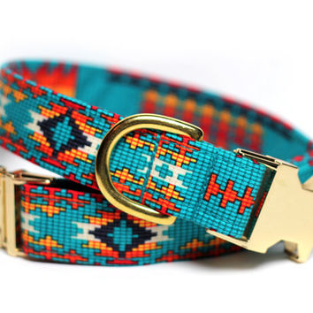 Aztec Leather Dog Collar