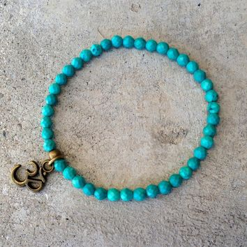 Fine Faceted Turquoise 'Communication' Bracelet with Om Charm