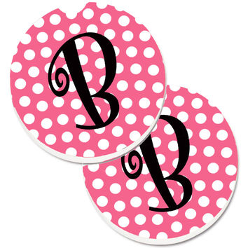 Letter B Monogram - Pink Black Polka Dots Set of 2 Cup Holder Car Coasters CJ1001-BCARC
