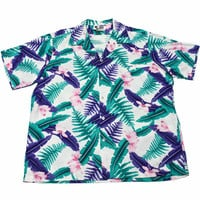 Vintage 90s White/Teal/Purple Hawaiian Shirt Mens Size XXL