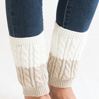 Twice As Nice Ivory and Beige Boot Cuffs