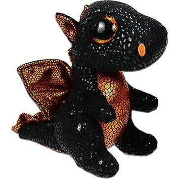 "Pyoopeo Ty Beanie Boos 6"" 15cm Merlin the Dragon Plush Regular Soft Big-eyed Stuffed Animal Collection Doll Toy with Heart Tag"