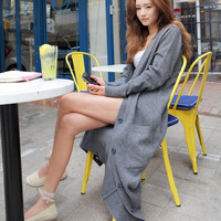 Grey Long Design Cardigan Roll Up Sleeve Big Bag Thin SweaterKnitted Trench Coat Outerwear