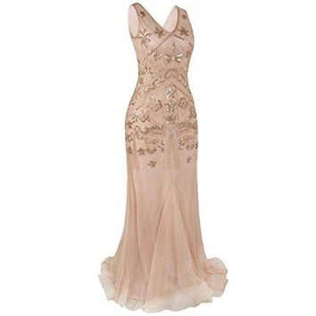 1920s Long Prom Gown Beaded Sequin Gatsby Formal Evening Dress