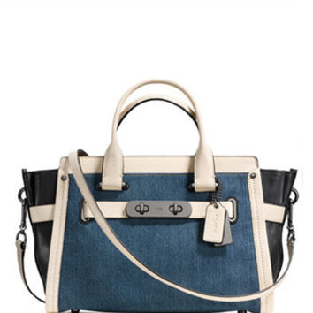 Coach Soft Swagger Carryall in Colorblock Denim