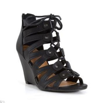 My Delicious Shoes Glawet Lace Up Wedges in Black GLAWET-S-BLK