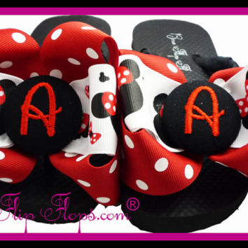 Disney Flip Flops, Minnie Mouse mickey, initial personalized, monogrammed- perfect for your Princess or Disney Vacation