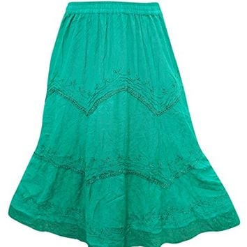 Women's Maxi Skirt Gypsy Sea Green Embroidered Rayon Skirts L