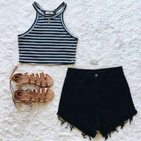 A Striped Crop in Black
