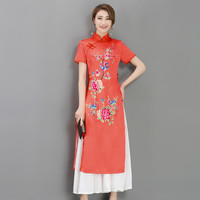 New Arrivals 2017 Spring and summer retro National customs Ao Dai cheongsam long silk dress