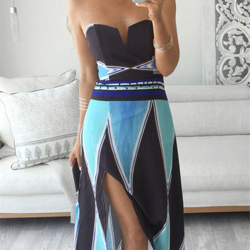 Women chest split Dress New Arrivals Sleeveless Summer Dress Striped Patchwork Fashion Casual Maxi Long Dresses
