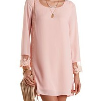 Embroidered Cuff Chiffon Shift Dress by Charlotte Russe - Peach