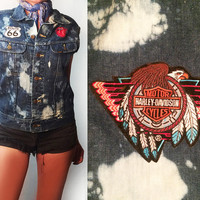 SPRING SALE! Vintage 1970s 80s Lee Distressed Denim Biker Vest With Vintage Harley Davidson Patch | Rolling Stones Route 66 Mens S, Ladies M