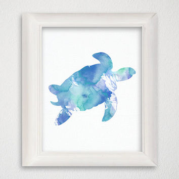 Giclee Print, Sea Turtle Art Print, Nautical Home Decor, Beach Art Print, Nursery Art Print, Watercolor Turtle, Turtle Painting