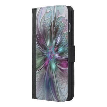 Colorful Fantasy, abstract and modern Fractal Art iPhone 6/6s Plus Wallet Case