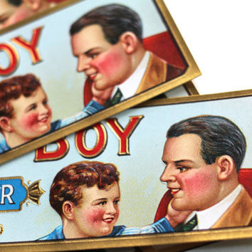 6 Vintage Cigar Box Labels Embossed 1910s Sonny Boy - Paper Lot - Tobacco Father's Day