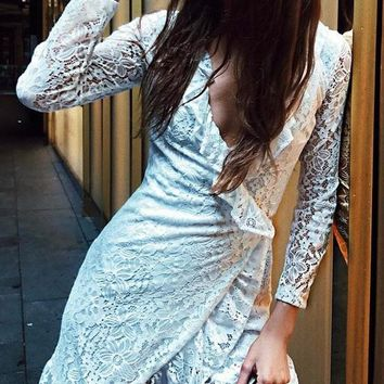 Lace Long Sleeves V-Neck Mini Dress