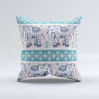The Walking Sacred Elephant Pattern V2 ink-Fuzed Decorative Throw Pillow