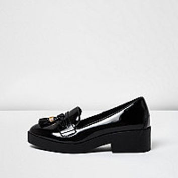 Black patent chunky loafers - flat shoes - shoes / boots - women