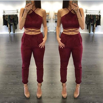 2017 Women Two Piece bandage Set jumpsuit Rompers Womens Jumpsuit Long Pants 2 Piece Set Women Short Crop Tops Bodycon Palysuit
