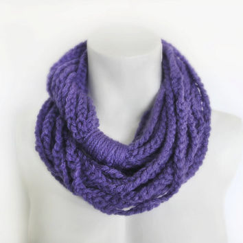Crochet Infinity Scarf, Crochet Chain Scarf, Purple Rope Crochet Snood - Crochet Cowl, Circle Scarf Womens Accessory