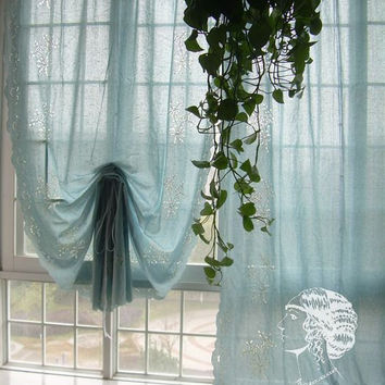 French Country Floral Blue Adjustable Pull Up Balloon Shade Austrian Cotton Cafe Kitchen Curtain 005