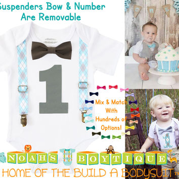 Blue and Gray Baby Boy First Birthday Outfit - Argyle Birthday Shirt - Elephant Theme Party - Cake Smash - Suspenders Bow Tie - Number One