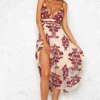Saving Lives Maxi Dress Burgundy
