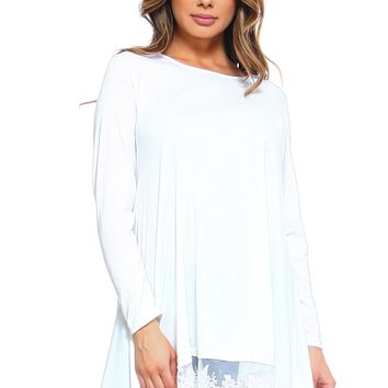 LL Women's Lace Patchwork Long Sleeve Tunic