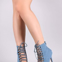 Denim Pointy Toe Corset Lace-Up Stiletto Booties