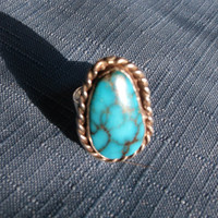 Vintage Ring Turquoise Gemstone Sterling Silver Size 8 Signed Southwestern Gift Idea Special Occasion December Birthstone Christmas