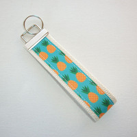 Key FOB / KeyChain / Wristlet  - Pineapples orange, tan, natural or navy  - teacher house warming bridal friend under 10 gift