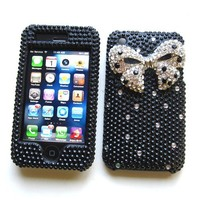 "Apple iPhone 3G & 3GS Snap-on Protector Hard Case Rhinestone Cover ""Silver Ribbon"" Design"