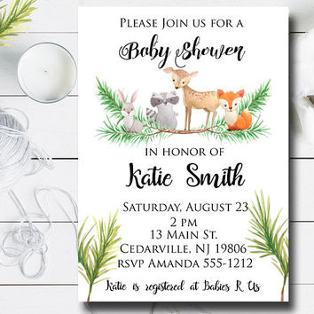 Woodland Baby Shower Invitation - Gender Neutral Baby Shower Invitation - Printable Woodland Baby Shower Invitation - Forest Animals