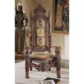 Lord Raffles Throne Chair High Back Wood Heraldic Crest Coat of Arms 68H