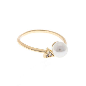 FAUX PEARL CZ PAVE TRIANGLE RING